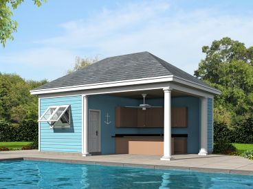 Pool House Plan, 062P-0005