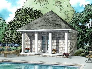 Pool House Plan, 025P-0001