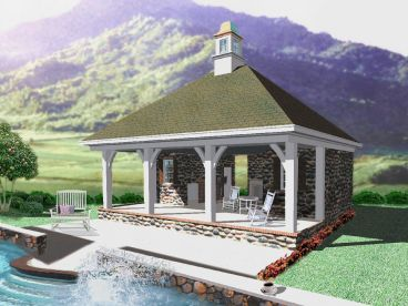 Pool House Plan, 006P-0038