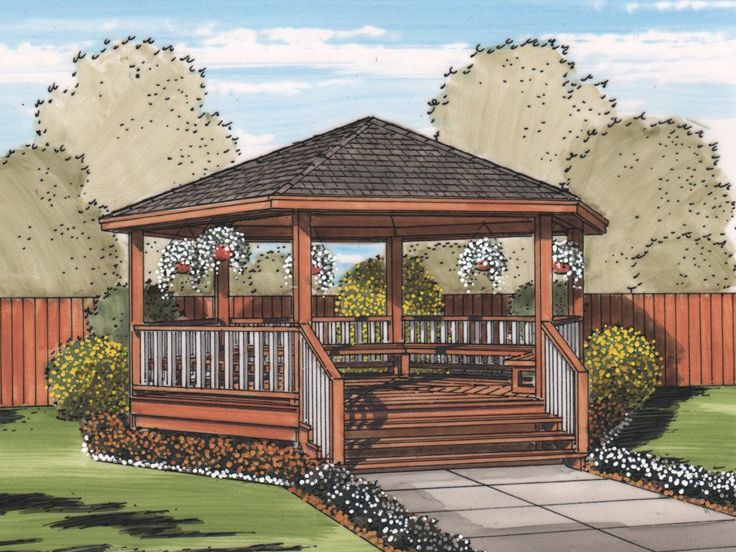 Gazebo Plan with Benches, 050X-0001