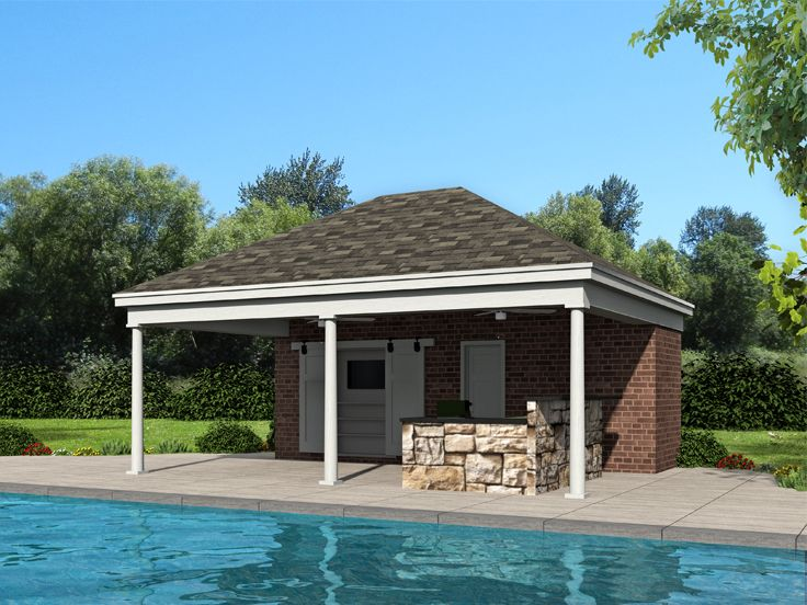 Pool House Plans Pool House With Vaulted Lanai 062p 0007