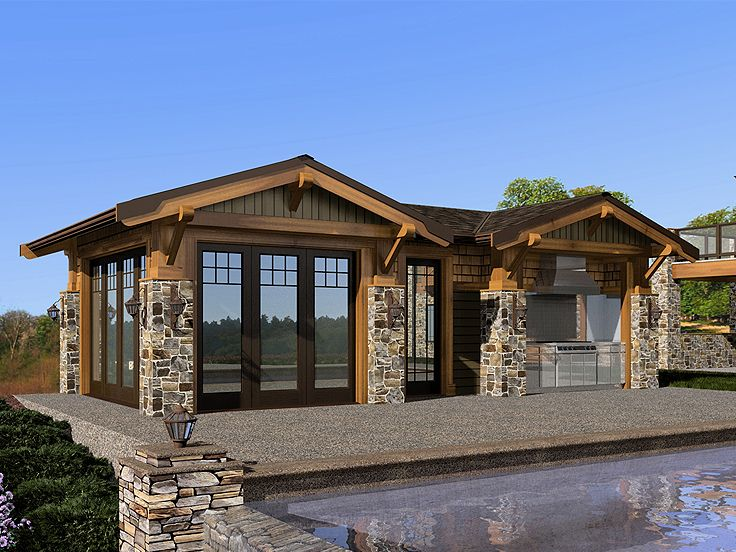 Pool House Plans Cabana With Outdoor Kitchen 035p
